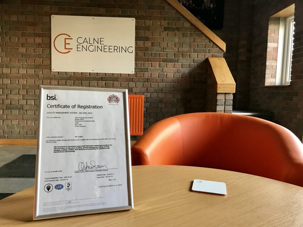 BSI Certificate in Calne Engineering Reception